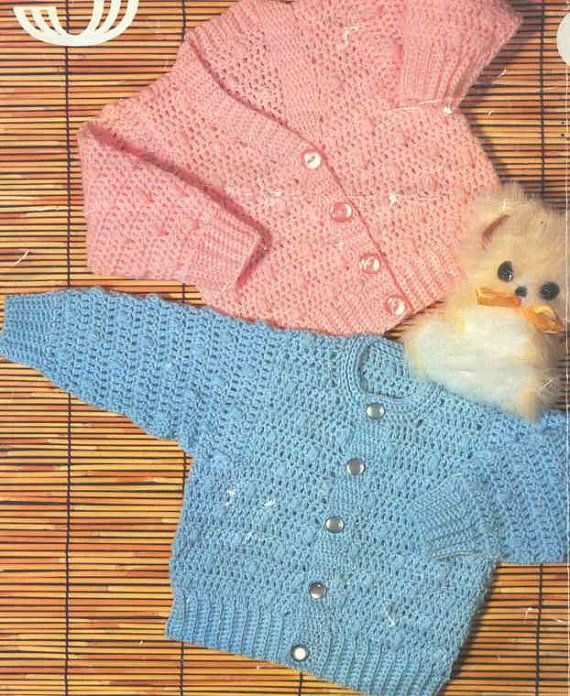 Vintage Knitting Pattern Knit V-Neck and Round Neck Cardigan Sweater Jumper Pullover matinee jacket sweater  baby coat pdf instant download