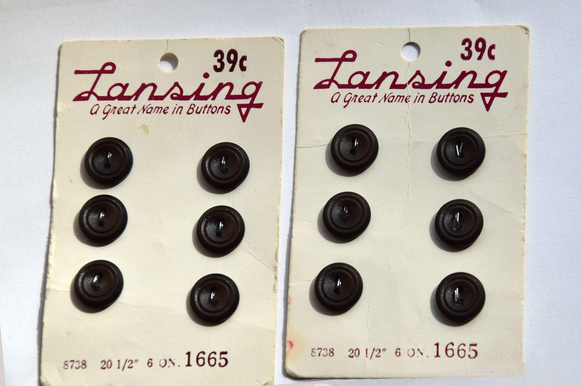 Set of 2 Vintage 1-inch Black Buttons