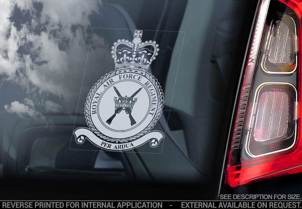 Royal Air Force Car Window Sticker RAF Regiment Crest
