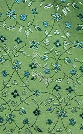 Silk Brocade Fabric Consists Of 35 It Is One The Best High Quality In China Patterns Colorful Small Flowers Color Green