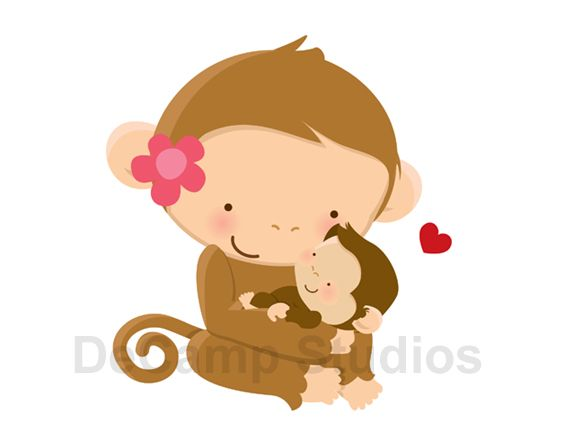 Monkey and her baby Wall Mural Decal for baby girl boy safari ...
