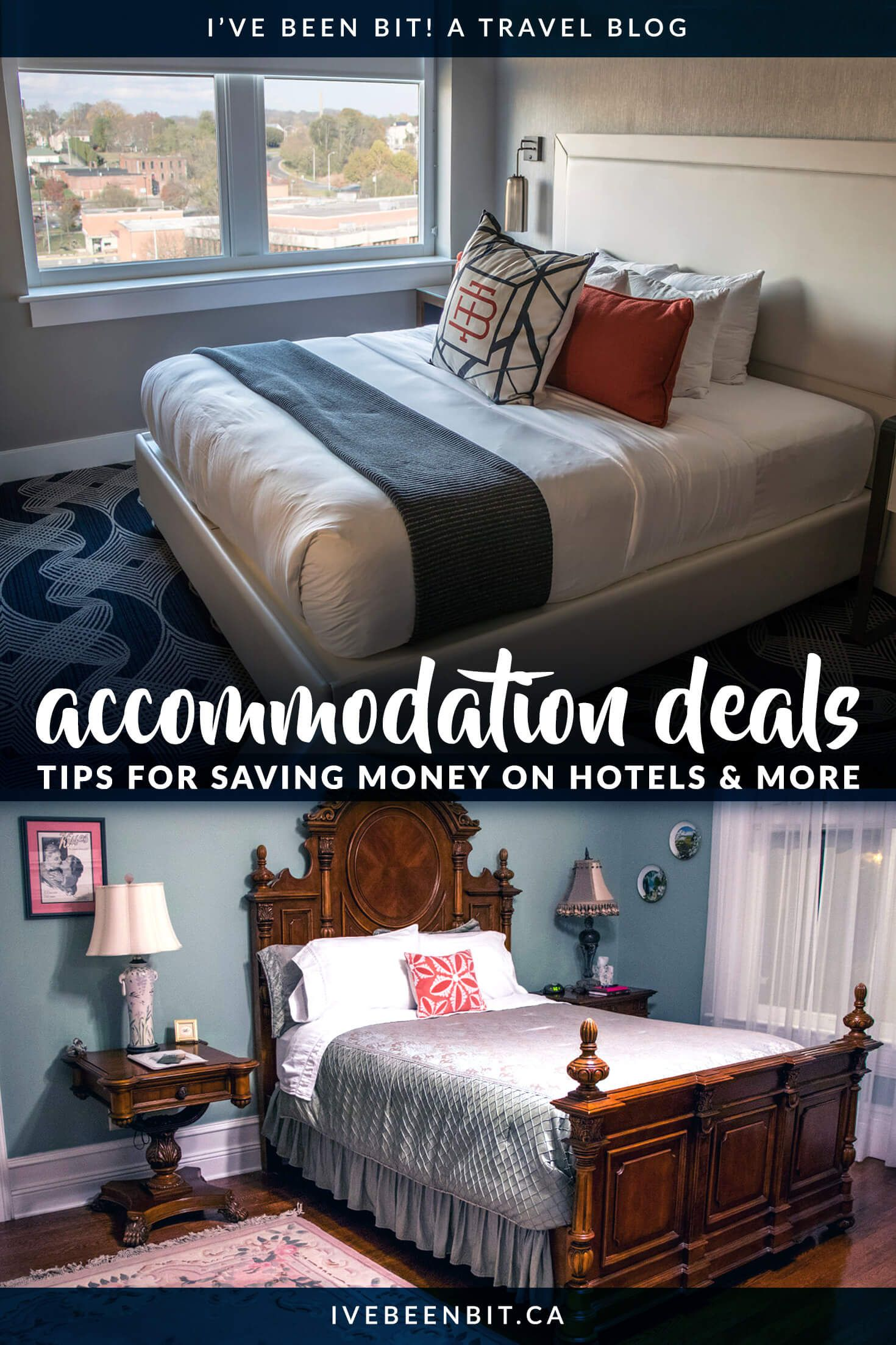 Travelling on a budget? You don't want to miss these tips on saving money on hotels, Airbnb and more. See how you can keep more money in your pocket as you travel. There is no magic website that will find you the best hotel deals, but this guide has tips for saving money on accommodation!   #Travel #Accommodation #Hotels #HotelDeals   IveBeenBit.ca