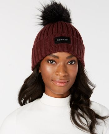 8e484f1ec89 Calvin Klein Pop-Color Pom Pom Knit Beanie in 2019
