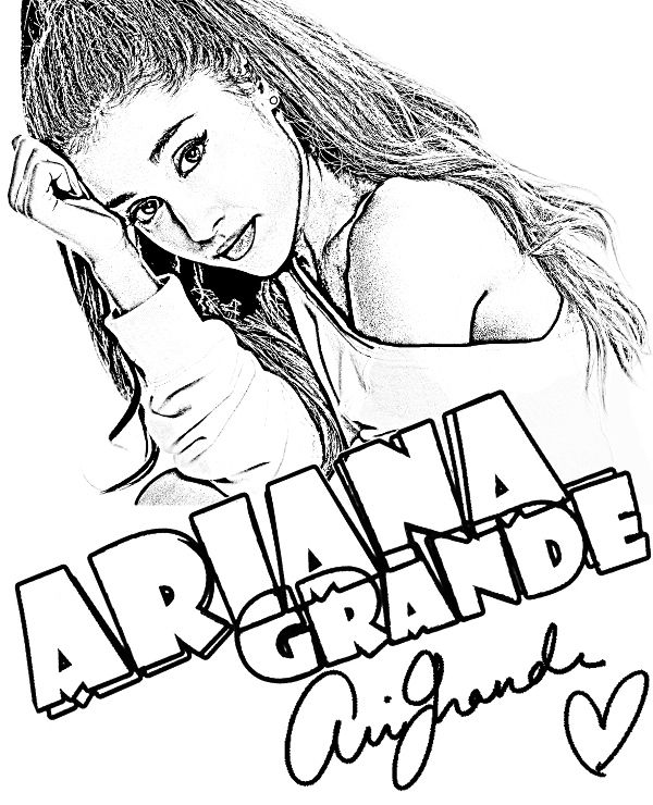 ariana grande coloring page celebrities coloring pages