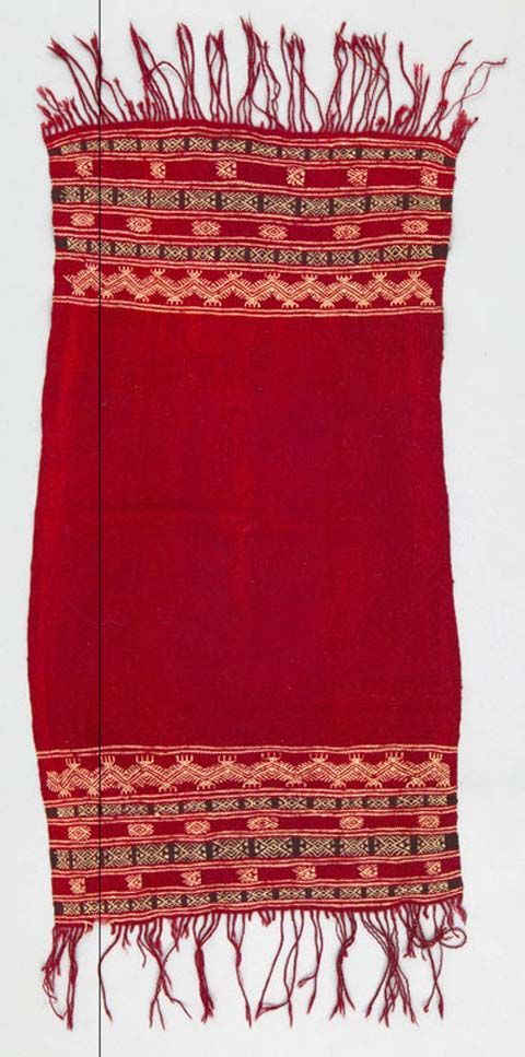 Africa | Head cloth ~ keftiya ~ from South Tunisia | 20th century | Wool, cotton; Plain woven, supplementary weft, fringed, resist dyed