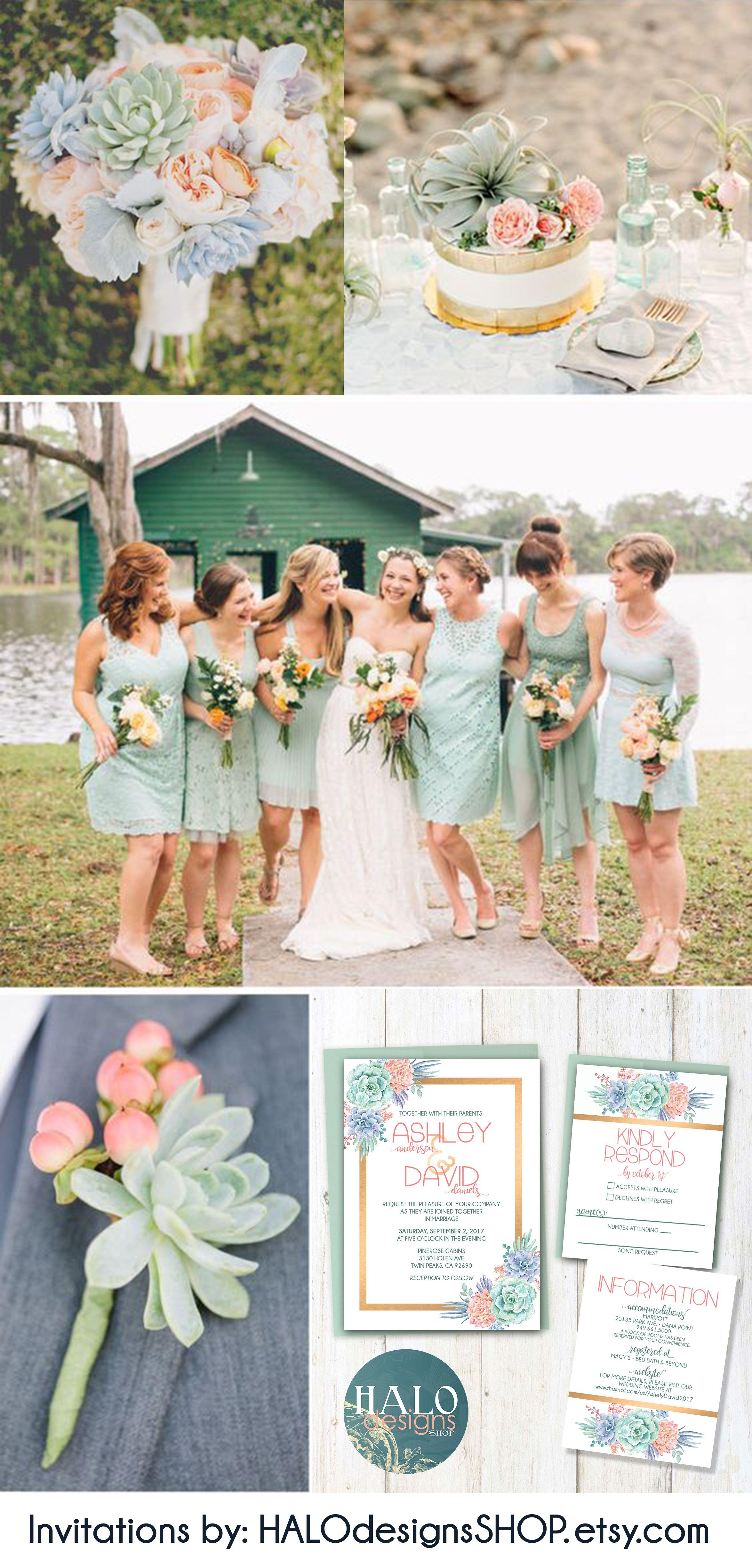Succulent Wedding Invitation Any Color Succulent Wedding Invite