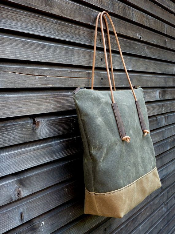 Waxed canvas tote bag with leather handles and by treesizeverse Source by colleencs Accs