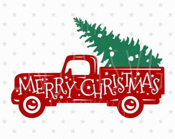 Merry Christmas Red Truck Svg Christmas Truck Svg Vintage Truck