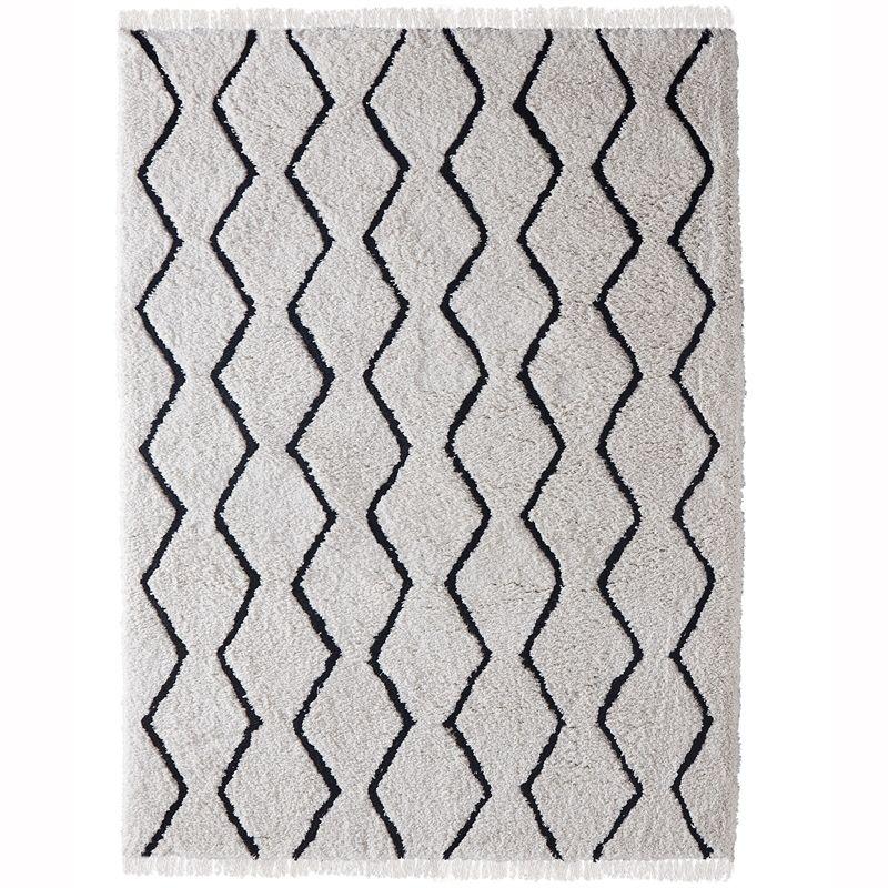 230 x 160cm Zigzag Fringed Polyester Rug Bunnings