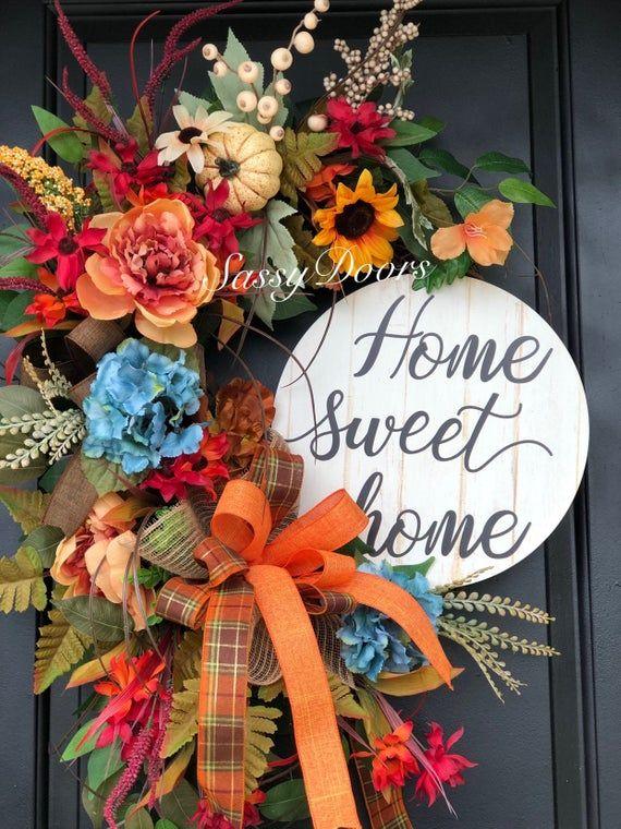 Photo of Fall Wreath-Pumpkin Wreath, Hydrangea Wreath, Front Door Wreath, Fall Pumpkin Wreath, SassyDoors Wreath, Sunflower Wreath