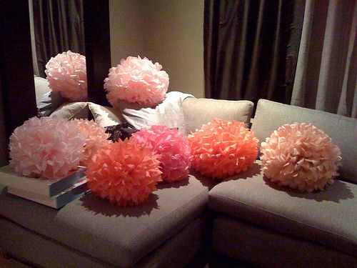 10 medium sized light and dark pink paper pomanders (the poms are assembled but unfluffed), made from the martha stewart kits . $24 for all 10.
