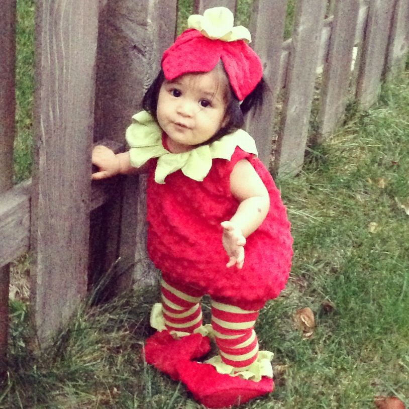 Sweet baby cute strawberry green grass autumn