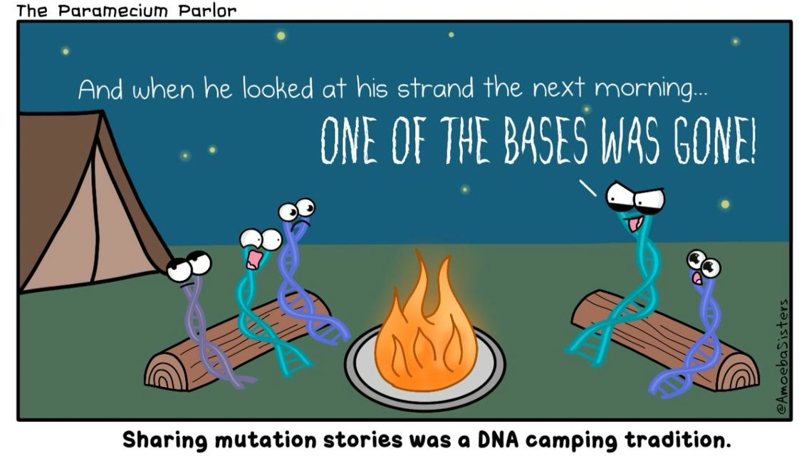 bases dna mutation cartoon picture biology science funny camp stories dna genes pinterest. Black Bedroom Furniture Sets. Home Design Ideas