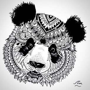 Mandala black and white animal google search pandas in 2019 panda drawing mandala animal - Coloriage panda roux mandala ...