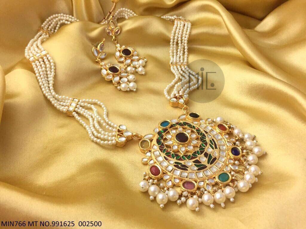 Moti kundan and gem set long haars pendants earrings