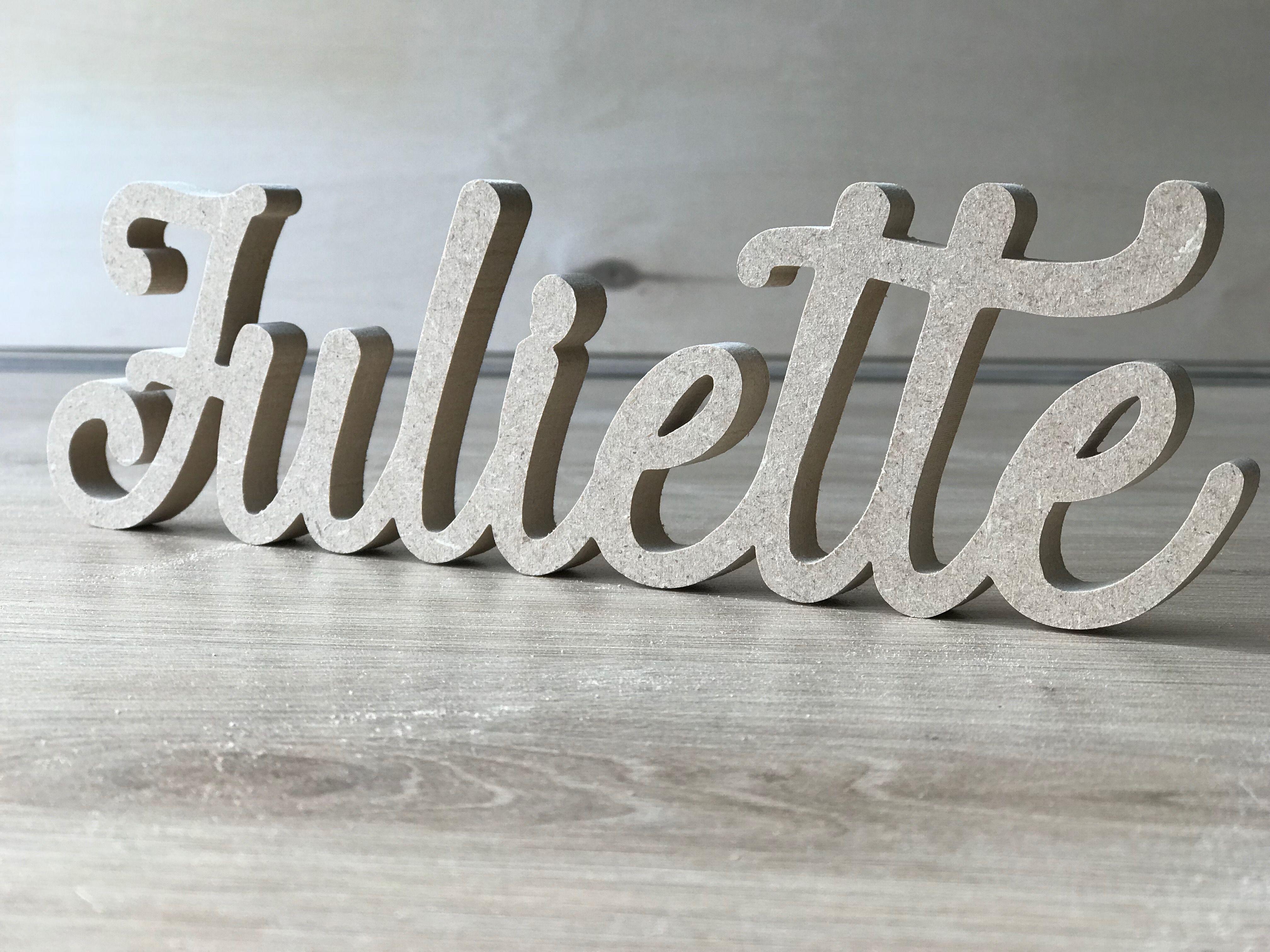 Mdf autoportant en bois nom gravé lettres
