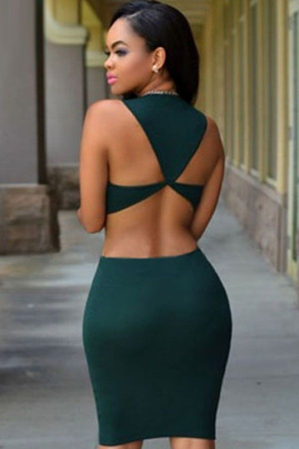 6b91906b7c3 Dark Green Sleeveless Round Neck Cutout Back Bodycon Party Dress in ...