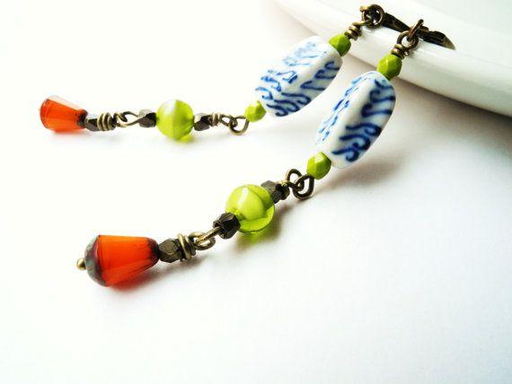 Dangle Earrings Beaded Earrings Blue Green and by WebAndRock, $18.00