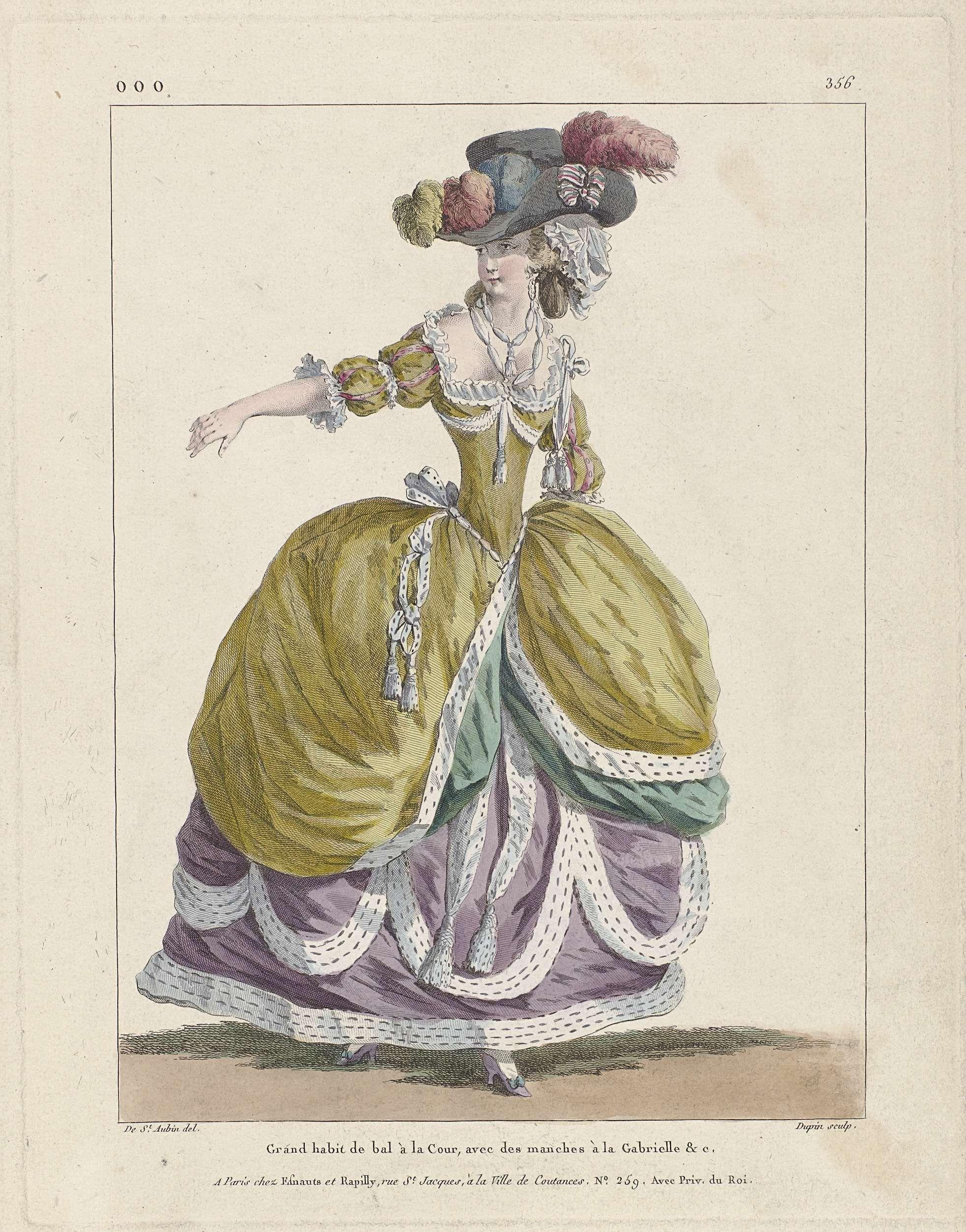 Nicolas Dupin   Marie Antoinette: The Queen of Fashion: Gallerie des Modes et Costumes Français, Nicolas Dupin, Esnauts & Rapilly, 1787   Vrouw in een baljapon voor aan het hof, met mouwen 'à la Gabrielle'. Hoed met struisveren; opstaande rand aan de zijkant, versierd met gestreepte strik in rood-wit-blauw. Hieronder een muts (?). Verdere accessoires:   twee linten om de hals, schoenen met hak en strik. Uit serie ooo. 1er Cahier de grandes robes d'étiquette de la cour de France faisaint…