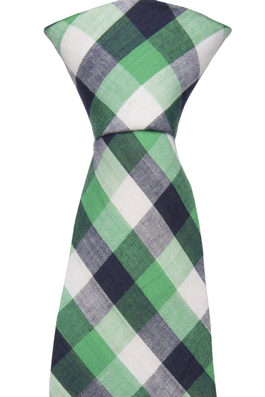 Cotton Slim necktie - Checkered pattern in green, black and white - Notch NEYMAR Notch