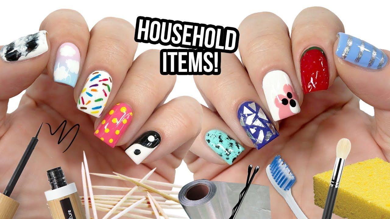 10 Nail Art Designs Using Household Items The Ultimate Guide 8 Youtube Nail Art Hacks Toenail Art Designs Nail Art For Beginners
