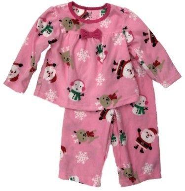 85ec656346 Carter s Infant   Toddler Girls Pink Fleece Santa   Snowman Holiday ...