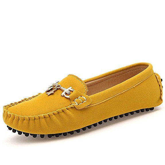 Sunrolan Womens Polyurethane Suede Round Toe Flats Slipons Loafers  Driving Shoes 806 Yellow