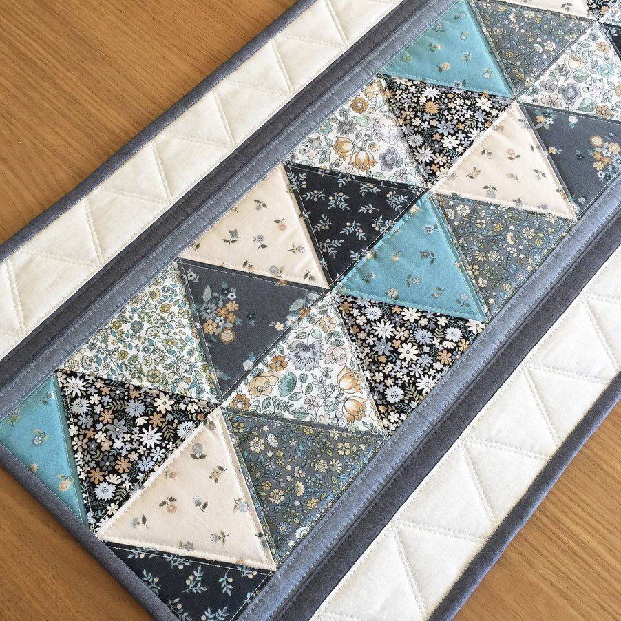 Quilted Triangle Table Runner Modern Floral Table Runner Grey