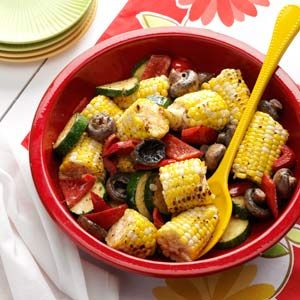 Grilled Corn Medley Recipe from Taste of Home | This medley tastes delightful with garden-fresh veggies.