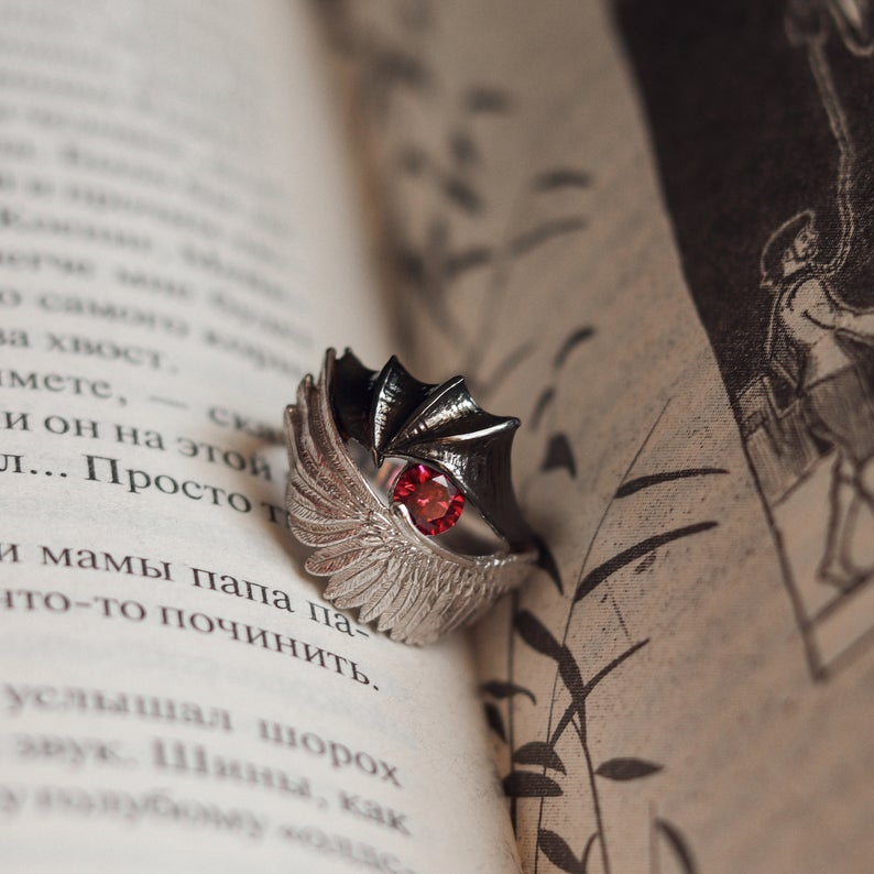 Angel Or Demon Silver Ring Etsy Literary Jewelry Silver Couple Jewelry