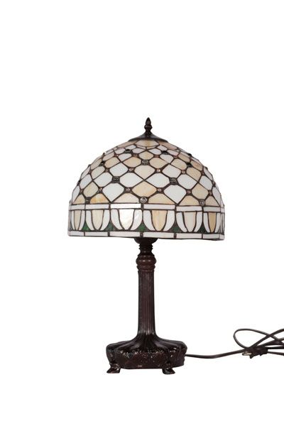 """Stained Glass Lamp 19"""" x"""" 12"""" 8"""" round base"""