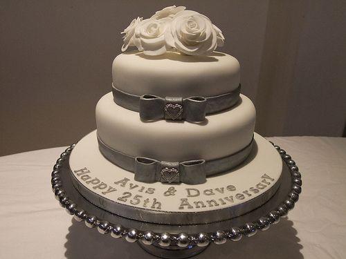 Silver 25th Anniversary Cake