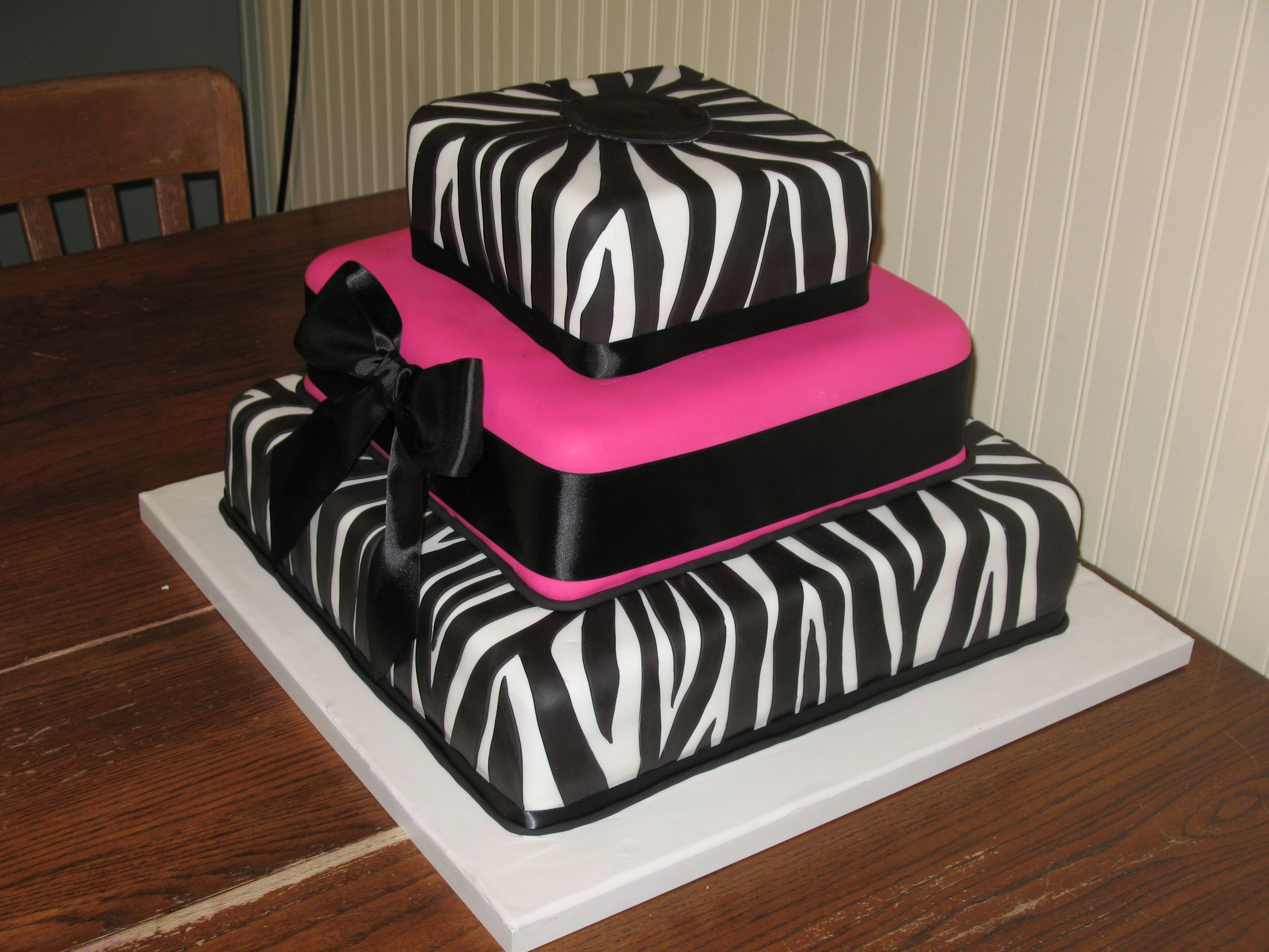 Baby Shower Cakes With Zebra Stripes ~ Square zebra cake zebra stripe cake before the flowers were