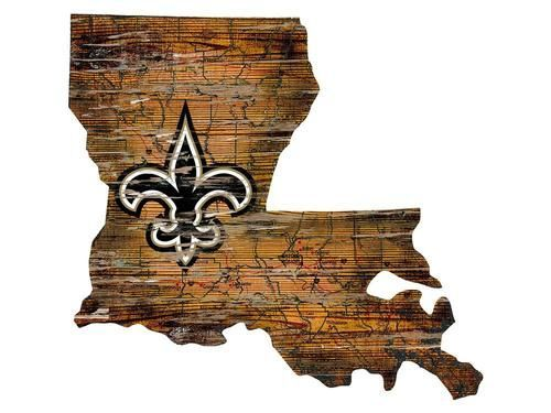 New Orleans Saints Wall Art Vintage State Map Logo Sign State Wall Art New Orleans Saints Logo Wall