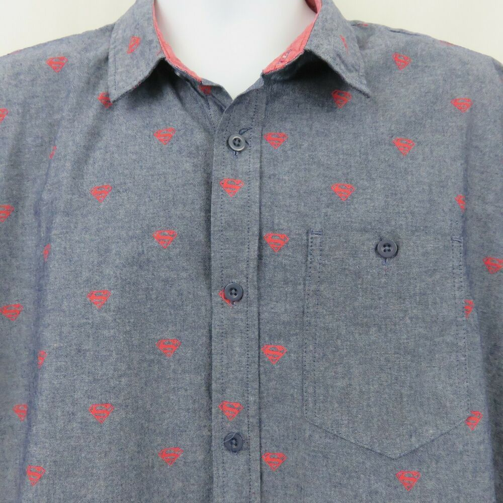 4c2fed157820a7 Superman Dark Denim Blue Chambray Red Logo Button Front Mens XL Shirt SS  Cotton  Superman