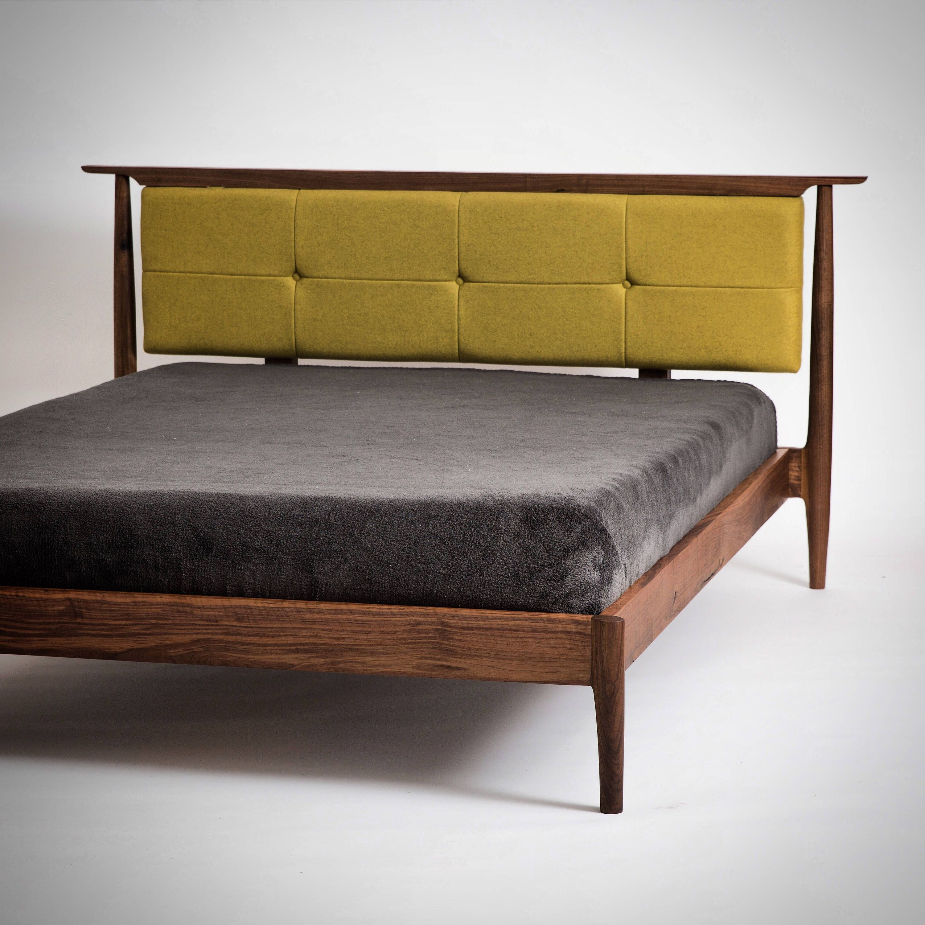 Custom Mid Century Upholstered Platform Bed Hand Crafted Modern