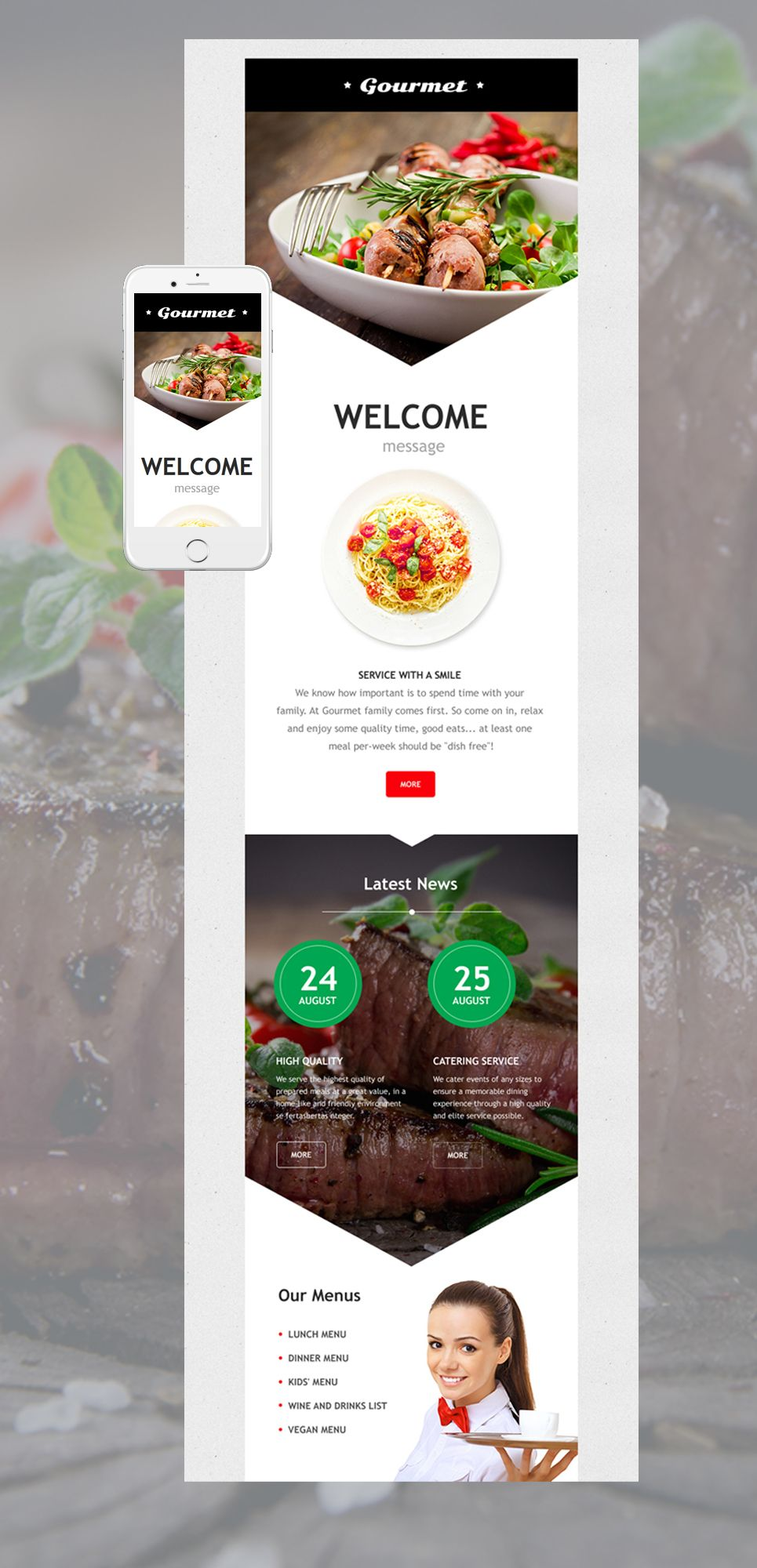 cafe and restaurant responsive newsletter template new website