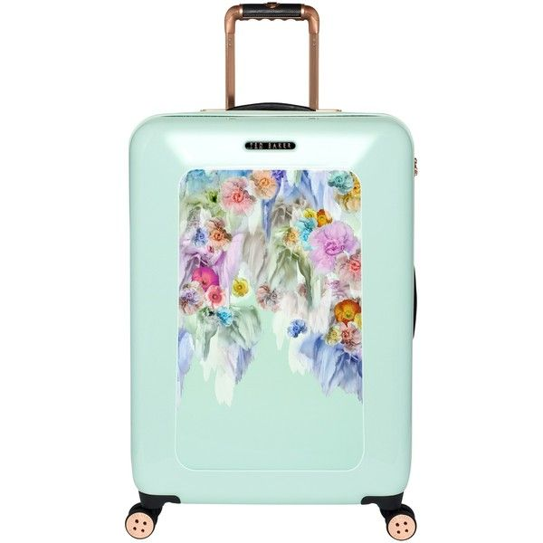Ted Baker Sugar Sweet 4-Wheel 69.5cm Medium Suitcase, Mint (£245) ❤ liked on Polyvore featuring bags, luggage and accessories