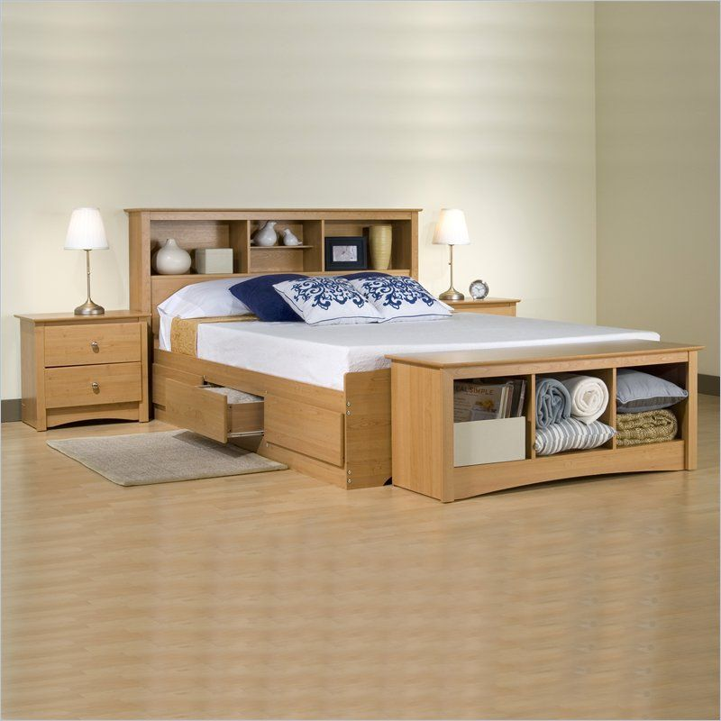 Prepac Sonoma Maple Queen Wood Platform Storage Bed 2 Piece