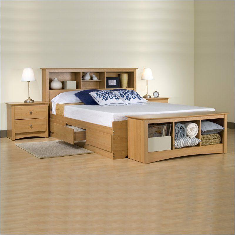 Prepac Sonoma Maple Queen Wood Platform Storage Bed 2 Piece