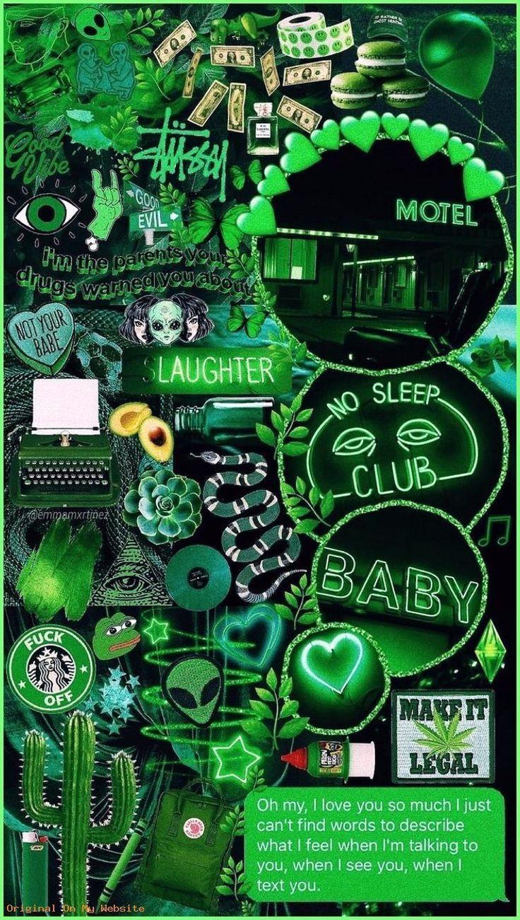 IPhone Hintergrundbild von Aesthetic - Green collage IPhone Hintergrundbild von Aesthetic - Green collage