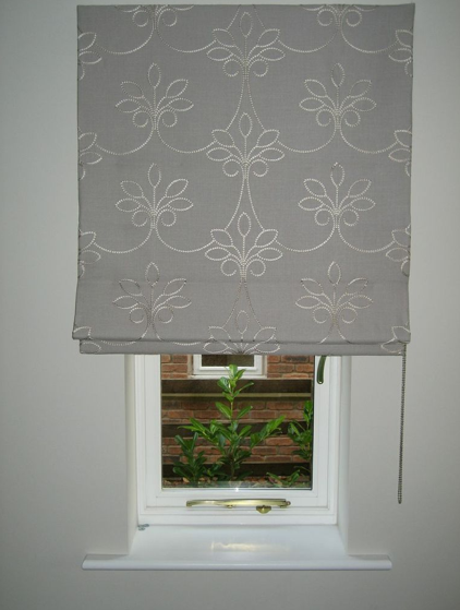 Roman Blind Fitted Outside The Recess In A Beautiful Embroidered