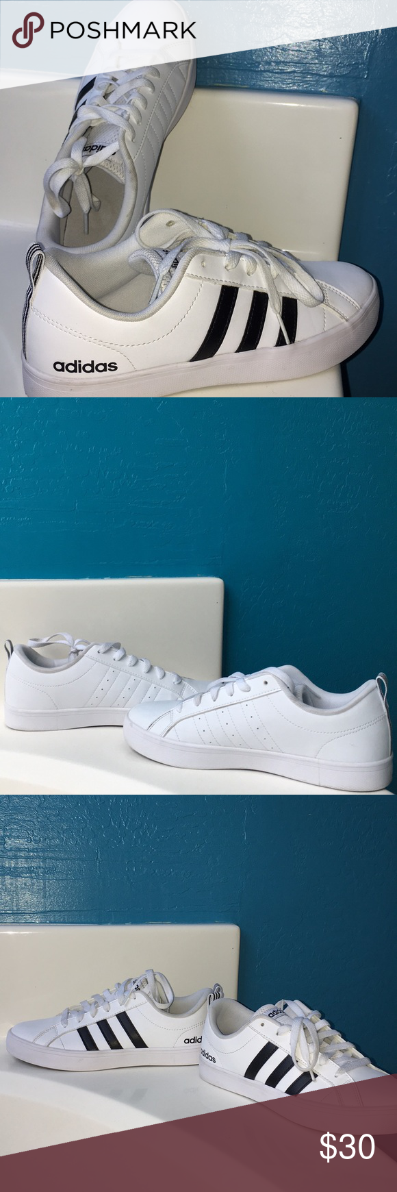 Adidas White Shoes With Black Stripes On One Side - Ajak Ngiklan