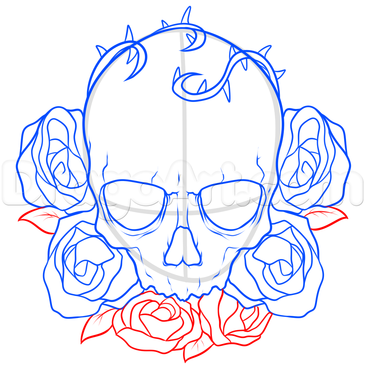 How To Draw A Skull And Roses Tattoo Step 6 Drawing Drawings