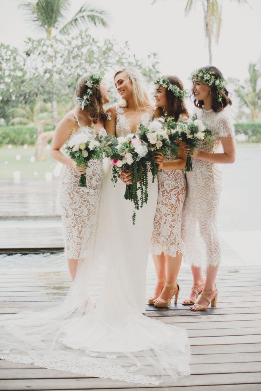 White lace boho bridesmaid dresses