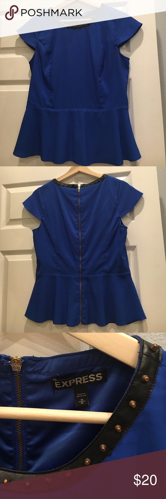 Express Zip Back Cobalt Blue Peplum Blouse Peplum style in a beautiful cobalt blue and accented with gold studs. Express Tops Blouses
