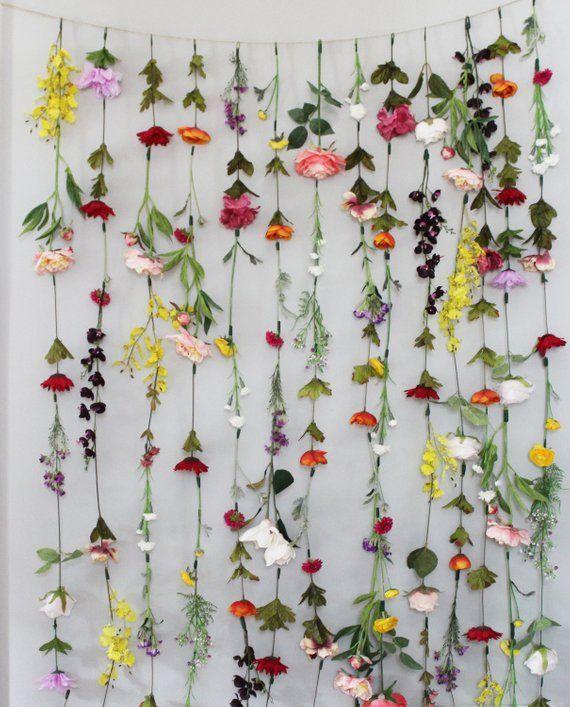 Flower Garland Wall Decor, Flower Garland Hanging, Flower ... on Hanging Wall Sconces For Flowers id=31873