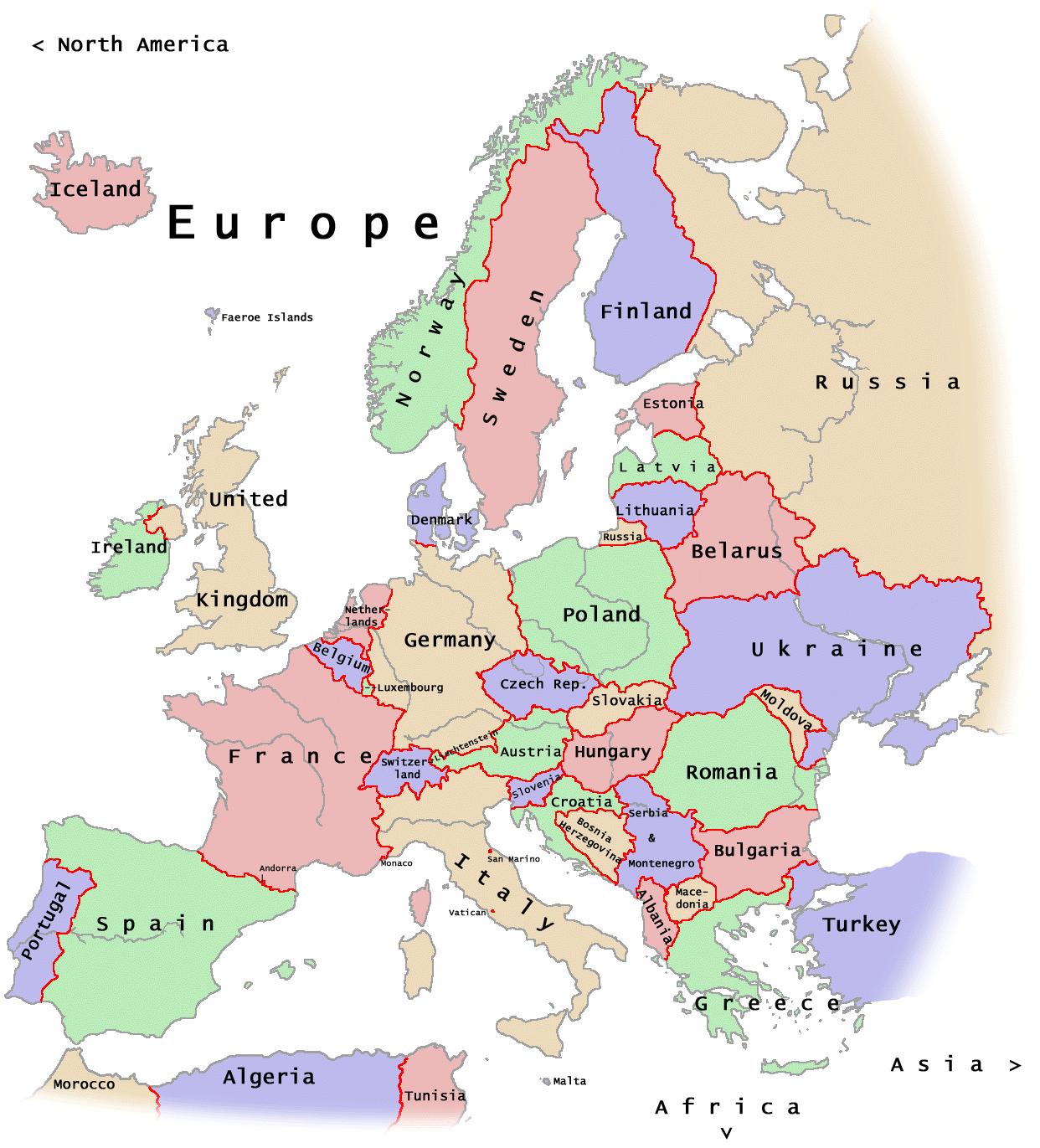 Mapa Politico de Europa El continente Europeo se extiende a