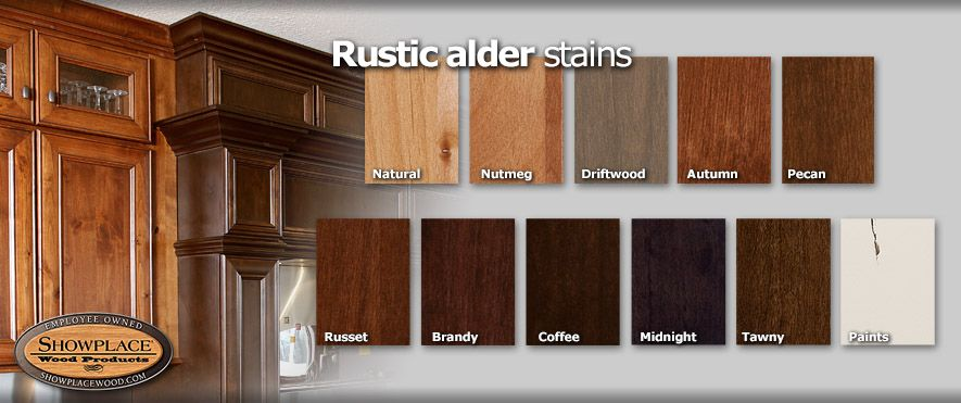Cabinet Woods And Finishes From Showplace Rustic Alder Knotty Alder Kitchen Wood Stain Colors Staining Wood
