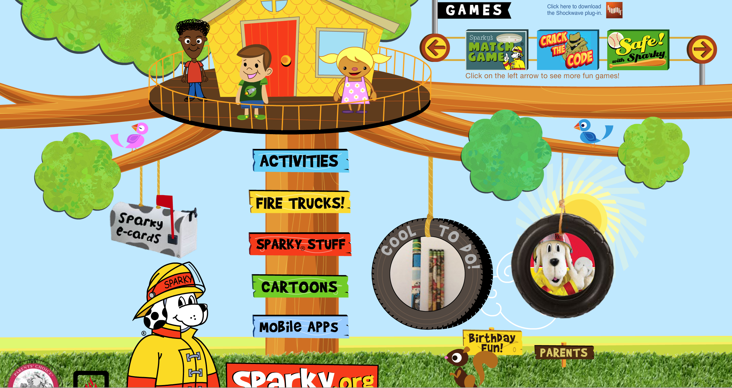 Fun interactive fire safety games with sparky the fire dog